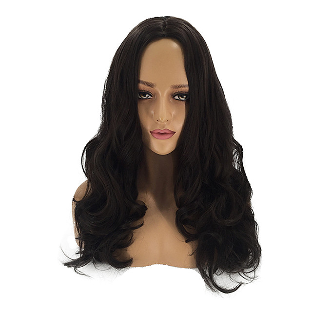 Synthetic Wig Cosplay Wig Curly Matte Body Wave Middle Part Wig Long Dark Brown Synthetic Hair 26inch Women's Cosplay Soft Adjustable Black Brown / Heat Resistant / African American Wig