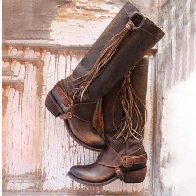 Women's Boots Knee High Boots Flat Heel Round Toe PU Knee High Boots Winter Black / Brown
