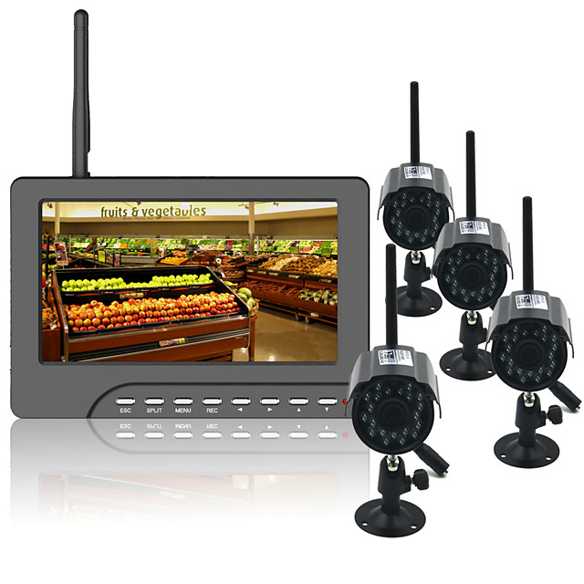 7 Inch Tft Digital 2.4g Wireless Night Vision 3.6mm Wide Angle Len Cameras Audio Video Baby Monitors 4ch Quad Dvr Security System With Ir Night Light Four Cameras