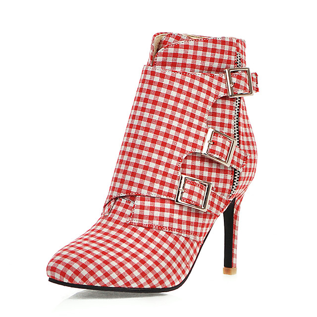 Women's Boots Stiletto Heel Pointed Toe PU Booties / Ankle Boots Casual / British Fall & Winter Pink / Gray / Party & Evening