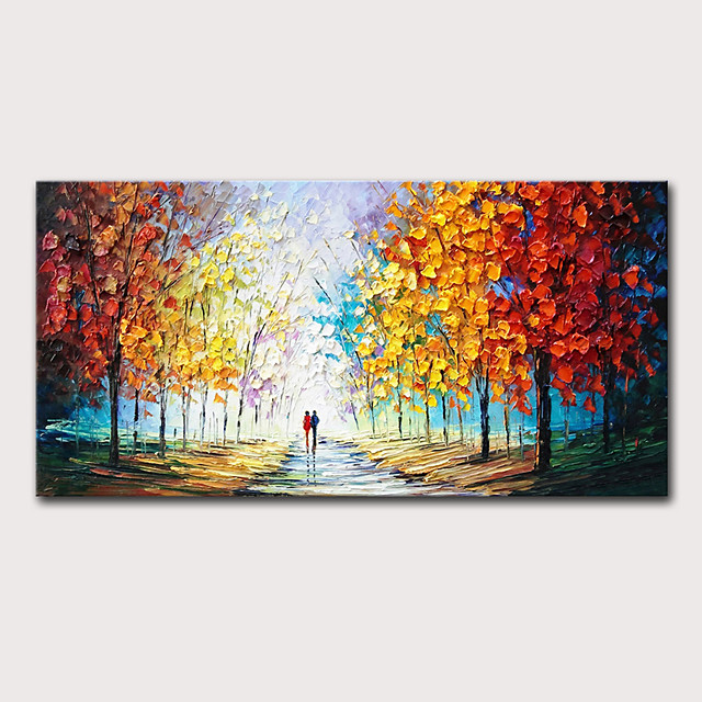 Oil Painting Hand Painted Landscape Abstract Landscape Modern Stretched Canvas With Stretched Frame