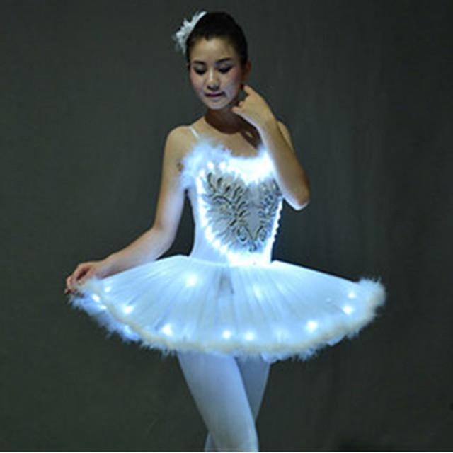 Ballet Dancer Swan Lake LED Layered Dress Tutu Bubble Skirt Under Skirt Girls' Kid's Tulle Cotton Costume White / Purple / Blue Vintage Cosplay Christmas Party Halloween Sleeveless Short Length