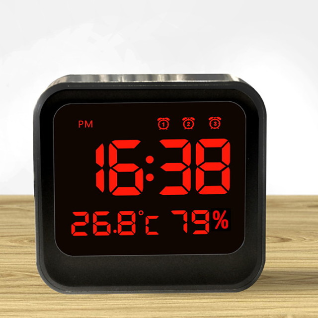 Digital Alarm Clock, Dual Smart Alarm ,Snooze, Small Travel Clock with Indoor Thermometer/Hygrometer, Dimmable LED Backlight, Handheld Size