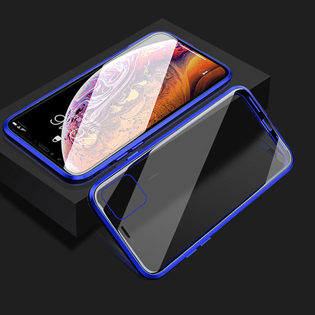Magnetic Phone Case for iPhone 11 iPhone XR Clear Phone Case 360 Protection Double Sided Glass Metal Shockproof Protective Case for 11 ProMax SE2020 XS MAX X iPhone 8 7 Plus