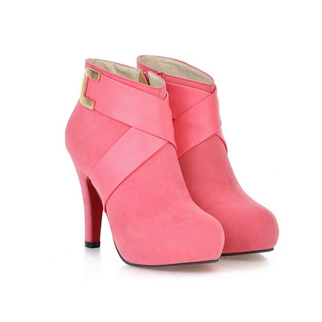 Women's Boots Fall / Winter Pumps Round Toe Business Casual Daily Solid Colored PU Booties / Ankle Boots Red / Pink / Black