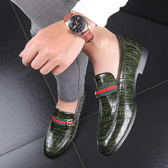 Men's Dress Shoes Spring / Summer / Fall Business / Casual Daily Outdoor Office & Career Loafers & Slip-Ons Walking Shoes PU Wear Proof Red / Green / Black / Buckle / Winter