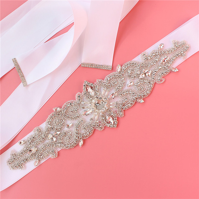 Satin / Tulle Wedding / Party / Evening Sash With Imitation Pearl / Belt / Crystals / Rhinestones Women's Sashes