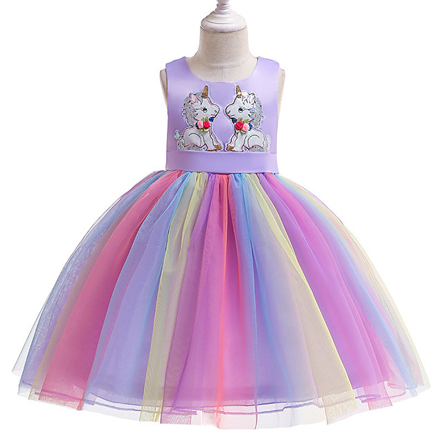 Unicorn Dress Flower Girl Dress Girls' Movie Cosplay A-Line Slip Cosplay Purple / Pink Dress Halloween Carnival Masquerade Tulle Polyester