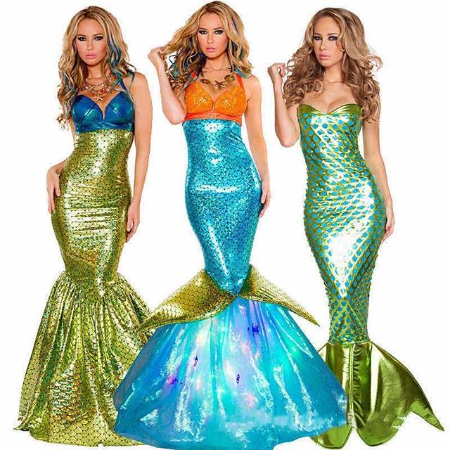 Cauda de Sereia Rainha do Aqua Princesa do Aqua Traje Cosplay Festa a Fantasia Mulheres Cosplay filme Dourado Verde azulado Roxo Sereia rabo de peixe Bikini Natal Dia Das Bruxas Carnaval Terileno