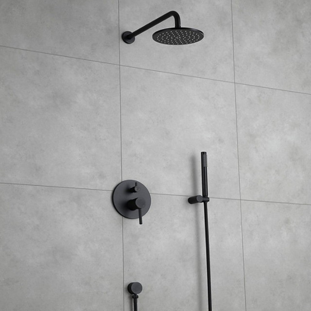 Embedded Contemporary Wall Mounted Ceramic Valve Bath Shower Mixer Taps-Shower Faucet