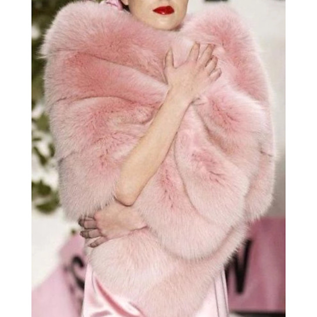 Sleeveless Capelets Faux Fur Wedding Women's Wrap With Belt / Fur