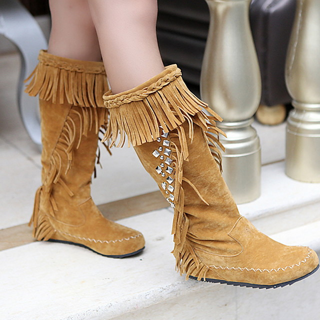 Women's Boots Comfort Shoes Flat Heel Round Toe Suede Mid-Calf Boots Winter Black / Brown / Yellow