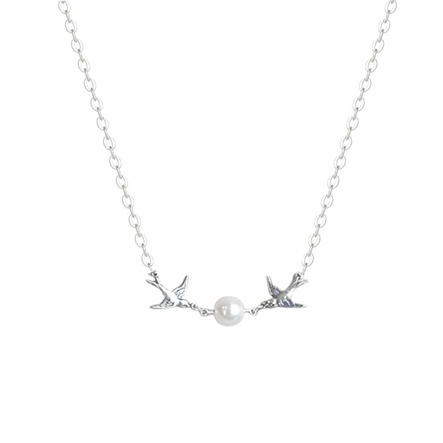 Women's Pearl Choker Necklace Pendant Necklace Bird Animal Dainty Ladies Unique Design European Imitation Pearl Silver Necklace Jewelry 1pc For Wedding Party Gift Daily Casual