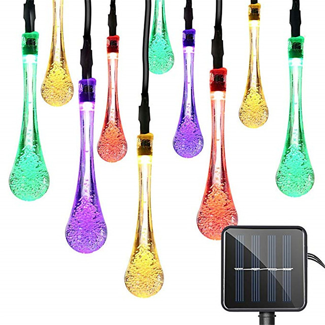 1pcs 50LED 7m Solar Light String Outdoor Waterproof Water Drop Fairy Lights Decoration For Christmas Garden Party Lighting