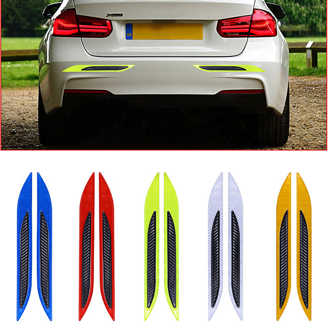 2pcs/lot 3D Car Reflective Tail Anti-Collision Strips Carbon Fiber Bumper Strips Safety Warning Tape Secure Reflector Stickers Decor