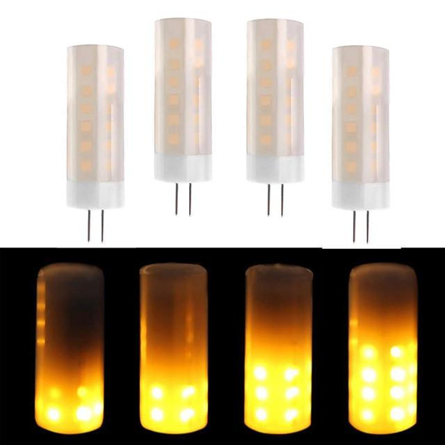 4PCS MINI Flickering Flame LED Bulbs G4 Bi-pin Ceramics Base 2W  G4 LED Flickering Fire Affects 1600K  AC/DC12V