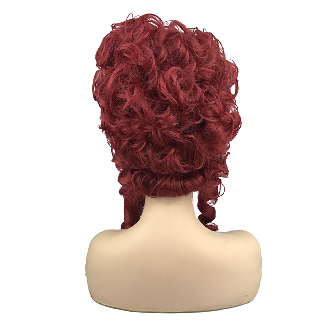 Synthetic Wig Queen Marie Antoinette Curly Vintage Victorian Middle Part Wig Medium Length Red Synthetic Hair 8 inch Women's Party Synthetic Red