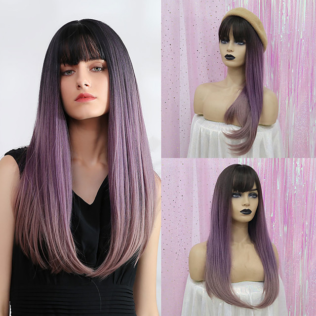 Synthetic Wig Bangs Straight Natural Straight Side Part Neat Bang With Bangs Wig Long Purple Synthetic Hair 24 inch Women's Cosplay Women Synthetic Dark Gray HAIR CUBE / Ombre Hair