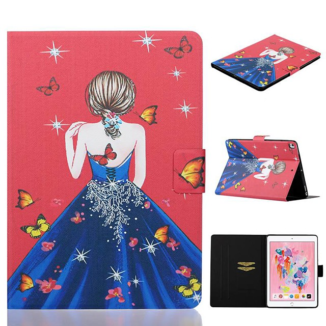 Case For Apple iPad Air / iPad (2018) / iPad New Air(2019) Card Holder / with Stand / Pattern Full Body Cases Sexy Lady PU Leather