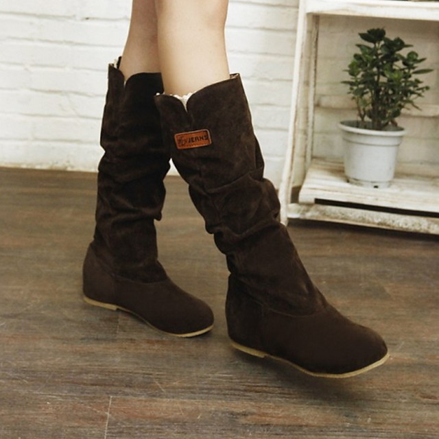 Women's Boots Flat Heel Round Toe Suede Mid-Calf Boots Fall & Winter Black / Dark Brown / Yellow