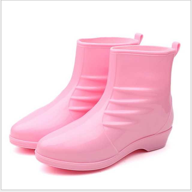 Women's Boots Rain Boots Flat Heel Round Toe PU Booties / Ankle Boots Fall & Winter Black / Wine / Pink