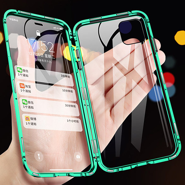 Magnetic Double Sided Case For Apple iPhone 12 Mini / iPhone 12 Pro Max Magnetic Full Body Cases Solid Colored Tempered Glass / Metal For iPhone 11 / iPhone 11 Pro / iPhone 11 Pro Max