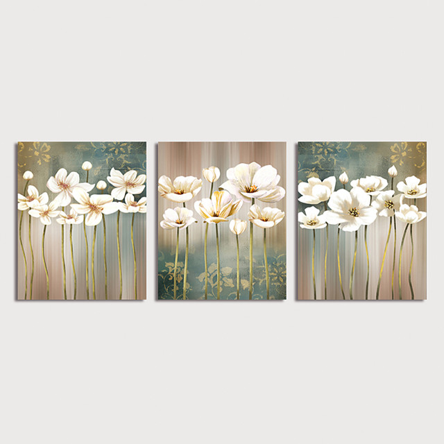 Oil Painting Hand Painted Floral / Botanical Modern Stretched Canvas / Three Panels With Stretched Frame