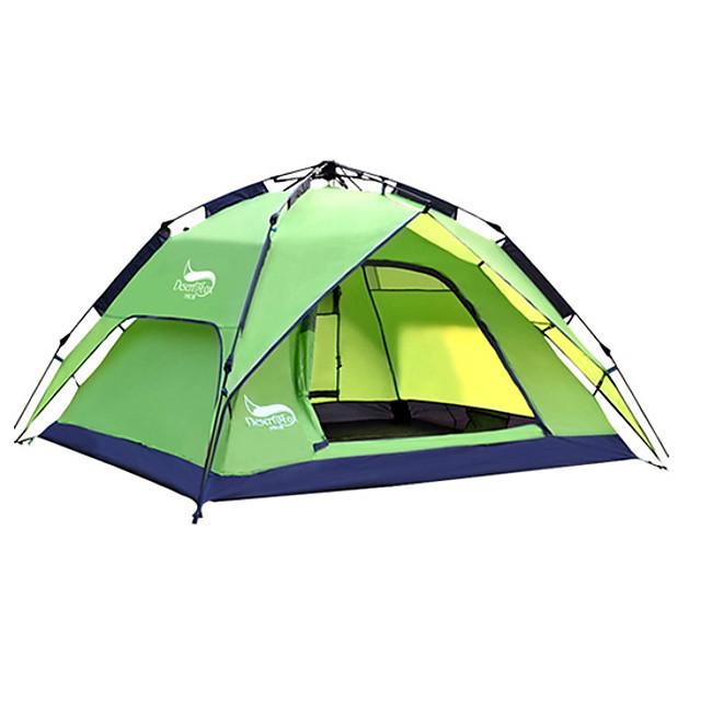 DesertFox® 3 person Automatisk Tält Utomhus Vattentät UV-resistent Dubbelt lager Automatisk Kupol Tält 2000-3000 mm för Camping Resa Utomhus oxford 240*210*130 cm