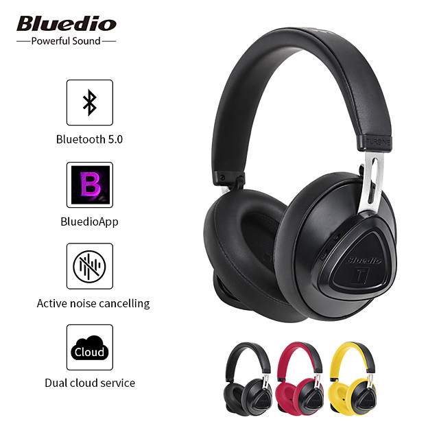 Bluedio TMS Wireless Active Noise Cancelling Headphone with Microphone Monitor Studio Bluetooth Headset Voice Control for Music and Phones