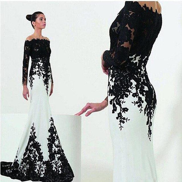 Mermaid / Trumpet White Black Engagement Formal Evening Dress Off Shoulder Long Sleeve Sweep / Brush Train Satin with Lace Insert Appliques 2020