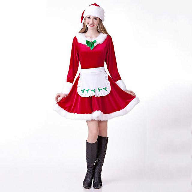 Babbo Natale Vestiti Per donna Per adulto Festa in costume Natale Natale Cotone Abito / Cappelli / Cintura