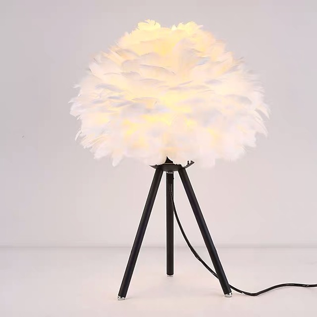 Table Lamp Feather Bedside Lamp Decorative Girls Bedside Lamp Modern Contemporary Nordic Style For Bedroom Office Metal 110-120V 220-240V White Black