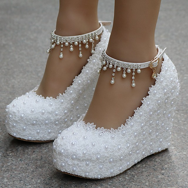 Women's Wedding Shoes Wedge Heel Round Toe Sweet Wedding Party & Evening Solid Colored PU Walking Shoes Summer White