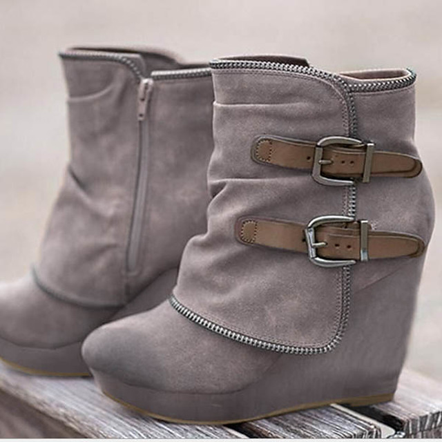 Women's Boots Wedge Heel Round Toe Suede Booties / Ankle Boots Fall & Winter Black / Gray / Khaki
