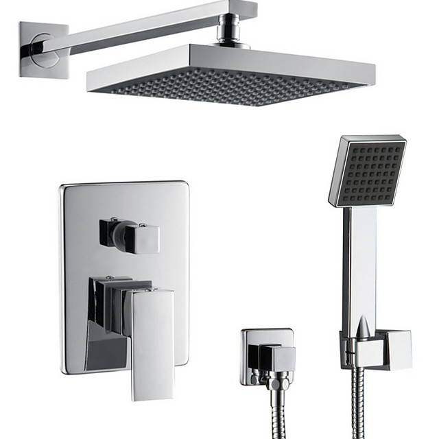 Shower Faucet Set - Rainfall Contemporary Wall Mounted Ceramic Valve Bath Shower Mixer Taps / Stainless Steel