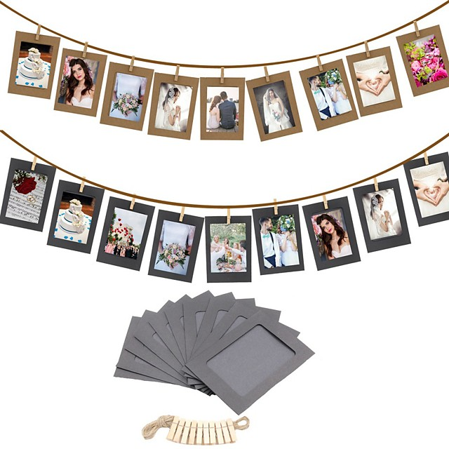 10PCS DIY Photo Frame Wooden Clip Paper Picture Holder Wall Decoration For Wedding Graduation Party Photo Booth Props
