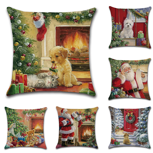Christmas Cushion Cover 6PCS Linen Pillow Cover Holiday Cartoon Traditional Christmas Throw Pillow Cases