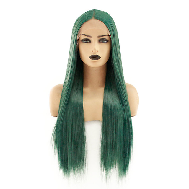 Synthetic Lace Front Wig Straight Avril Middle Part Lace Front Wig Long Green Synthetic Hair 22-26 inch Women's Heat Resistant Women Hot Sale Green / Glueless
