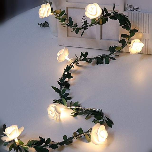 4pcs 2pcs 1pcs 1.5m 10leds Rose Flower Vine String LED Fairy lights Wedding Valentine's Day Christmas Decor Garland Batter Powered