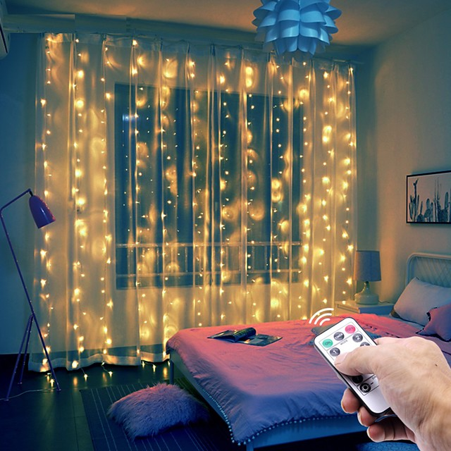 3x1 3x2 3x3m LED String Lights Christmas Fairy Lights Garland Outdoor Home For Wedding Party Curtain Garden Decoration