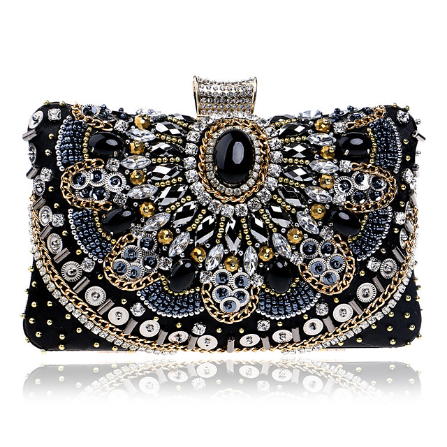 Women's Bags Polyester Alloy Evening Bag Crystals Beading Geometric Pattern Party Wedding Event / Party Wedding Bags Handbags Black
