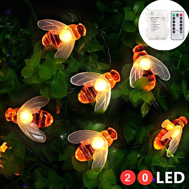 ZDM 2M 20 Pcs Multi-Color Waterproof IP65 Battery Box With 13key Controller Honey Bee Shape LED Lamp String Outdoor String Lights For Home Lighting Decorations Holiday Party Atmosphere