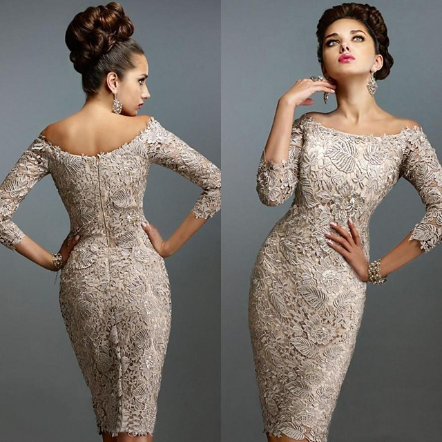 Sheath / Column Elegant Holiday Cocktail Party Dress Off Shoulder 3/4 Length Sleeve Knee Length Lace with Lace Insert 2020