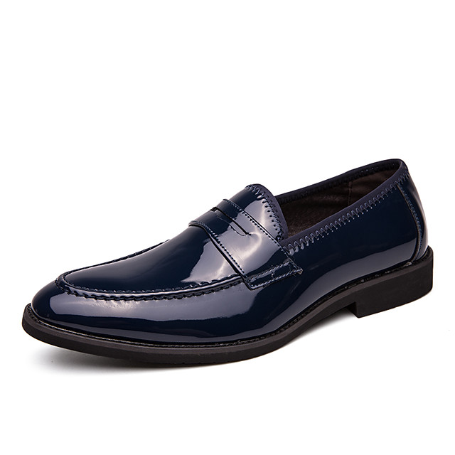 Men's Summer / Fall Casual / British Daily Office & Career Loafers & Slip-Ons Faux Leather Non-slipping Wear Proof Black / Blue