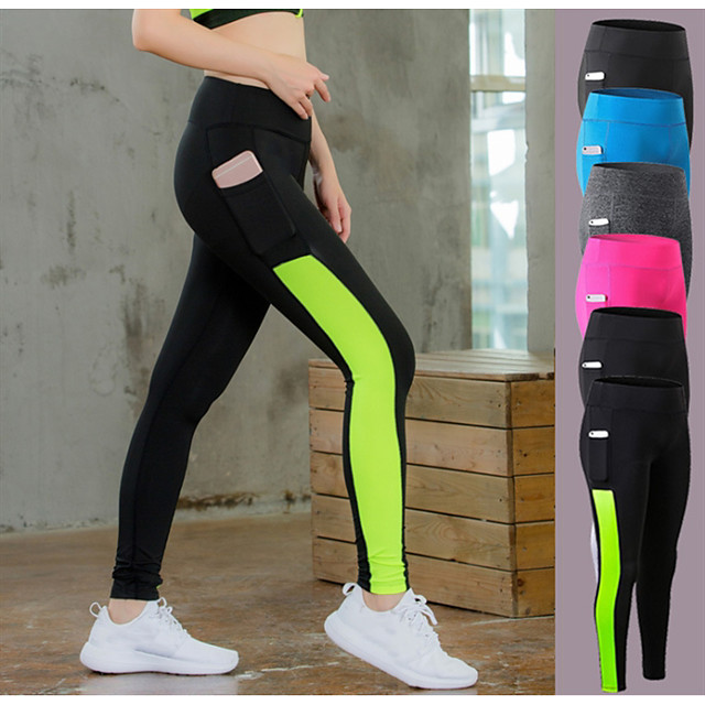 YUERLIAN Women's Running Tights Leggings Compression Pants Running Cropped Tights Athletic Tights Leggings with Phone Pocket Side-Stripe Elastane Winter Zumba Fitness Gym Workout Running Tummy