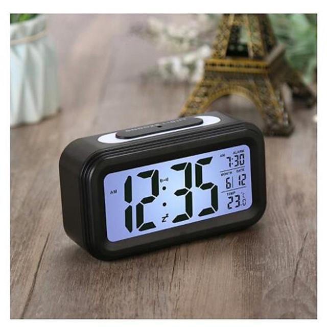 LED retroiluminacin de la pantalla de reloj de alarma de reloj Digital electrnica inteligente Despertador con botn de silencio con la temperatura y calendario funcin