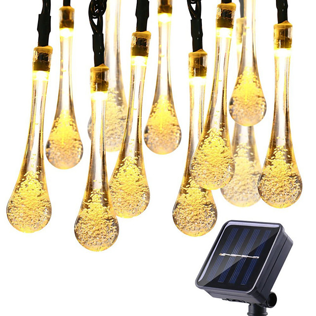 1pcs Solar Powered String Lights 30 LEDs 6.5m Waterproof 8 Modes Water Drop Fairy String Outdoor Lighting Garden Holiday Paty Lights
