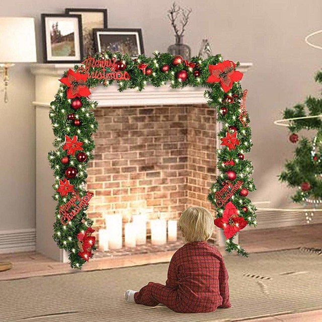 2.7m 8.8 ft Christmas Tree Light Illuminate Garland with Lights Artificial Flower Vine Plants Red Blue Gold White Christmas Decoration