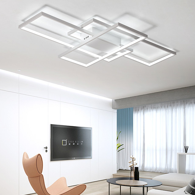 105cm LED 3-Light Linear Flush Mount Light Aluminum Geometric Modeling Pattern 70W Painted Finishes Warm White Cold White Dimmable With Remote Control