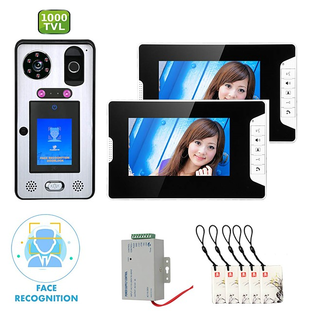 MOUNTAINONE SY813WGLB12 WIFI / Wireless Built in out Speaker 7 inch Hands-free 1080 Pixel One to Two video doorphone